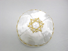 Satin Agam Star Kippah - White mca6