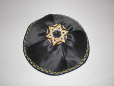Satin Agam Star Kippah - Black