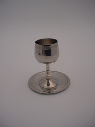 Stainless Steel Kiddush Cup and Plate