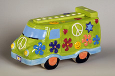 "Baby Boomer ""Peace"" Bus Porcelain Menorah"