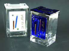 Beames Design Clear Glass & Fused Glass Tzedakah Box