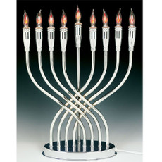 """Illumination"" Chrome Plated Electric Menorah"