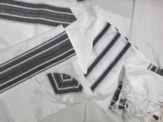 Gabrieli Silk White Background with Black Stripes