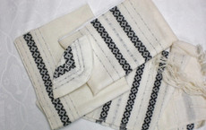 Gabrieli Wool Tallit Set in Black & Silver