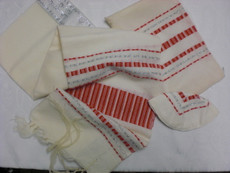 Gabrieli Wool Tallit Set with Red & Silver Stripes