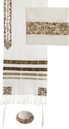 Gold Stars Of David Raw Silk Embroidered Tallit Set