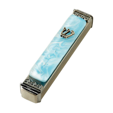 Baskin Art Glass Marbled Sky Blue Mezuzah