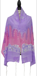 Silk Bijoux Jerusalem - Lavender and Pink With Matching Bag