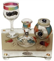 Lily Glass Art Havdalah Set-Rainbow