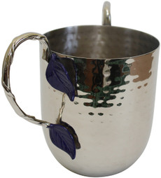 Blue Leaves Hammered Washing Cup - PURCHASED