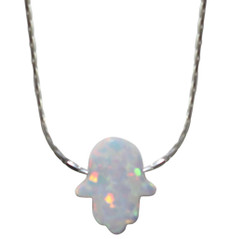 Opal White Hamsa With Sterling Silver Chain