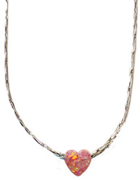 Opal Pink Heart With Sterling Silver Chain