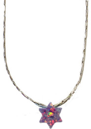 Opal Purple Star Of David With Sterling Silver Chain