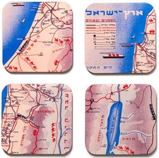 Retro Map of Israel Coaster Set