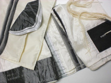 Black, gray and silver on white silk