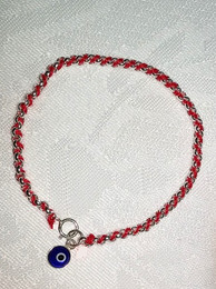 Kabbalah Red Thread with Sterling Bracelet and Blue Eye Charm