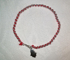 Kabbalah Red Thread with Sterling Bracelet and Hamsa Charm