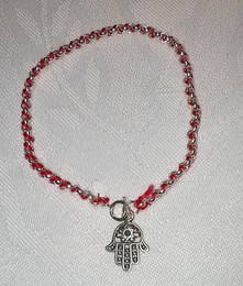 Kabbalah Red Thread with Sterling Bracelet and Filigree Hamsa Charm