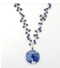 Stone Blue Cabochon with Lapis Dangle Bead Chain by Sara Fern