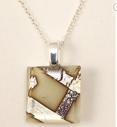 Tiny Cream Fused Glass Necklace by Sara Fern