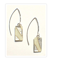 Cream Fused Glass Large Angled Wire Earrings by Sara Fern