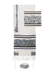 Jerusalem Design Tallit Set in Black