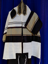 Michal White Wool With Black and Gold Ribbon Tallit Set