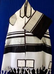 Black and Silver Raw Silk Striping