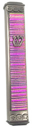 Baskin Art Glass Accordian Magenta Mezuzah