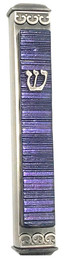 Baskin Art Glass Accordian Violet Mezuzah