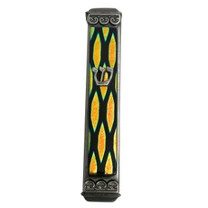 Baskin Art Glass Dancing Flames Cyan Mezuzah