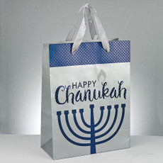 Large Chanukah Gift Bag with Foil and Glitter Accents