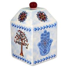 Hamsa and Tree of Life Tzedakah Box