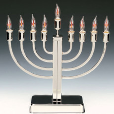 Classic Highly Polished Chrome Plated Electric Menorah