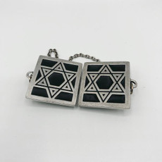 Pewter & Black Star of David Tallit Clips