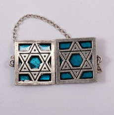 Pewter & Turquoise  Star of David Tallit Clips
