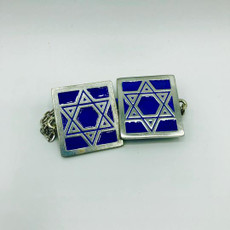 Pewter & Blue Star of David Tallit Clips