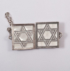 Pewter & Cream Star of David Tallit Clips