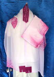Michal Chiffon With Fuchsia Accent Tallit Set