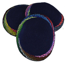 "Hand Crocheted ""Zig Zag"" Pattern Kippah - Navy Blue Background"