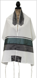 Banias Turquoise and Gray Tallit Set