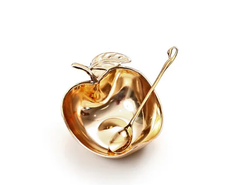 Gold Plated Honey Dish with Spoon