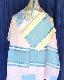 Michal Baby Blue Tallit Set With Holograms