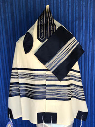Michal Navy Blue Wave Tallit Set
