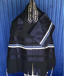 Michal  Two-Toned Blue with Silver Stripe Tallit Set