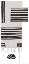 "Emanuel ""Jewish Weaving"" Tallit Set - Black Stripes"
