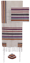 "Emanuel ""Jewish Weaving"" Tallit Set - Multi Color Stripes"