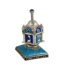 Blue Synagogue Dreidel with Stand