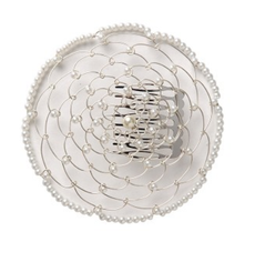 Wire Chapel Hat - White with Pearls