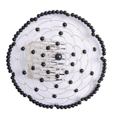 Wire Chapel Hat - Black with Beads
